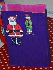Christmas boxes with santa and the elf
