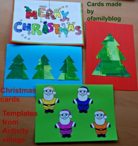 Christmas cards on ofamilyblog