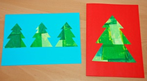 Christmas cards - tissue paper christmas trees using a template from activity village