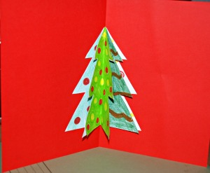 Christmas tree card on using activity village template ofamilyblog
