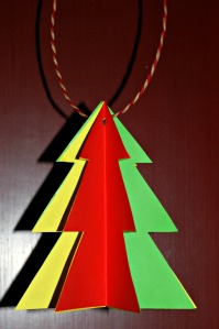 Christmas tree decoration using 3 coloured pages