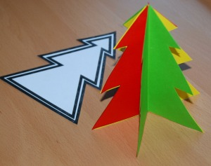 Christmas tree decoration using the tree template from activity village