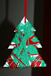Christmas tree decoration using wool to wrap the template
