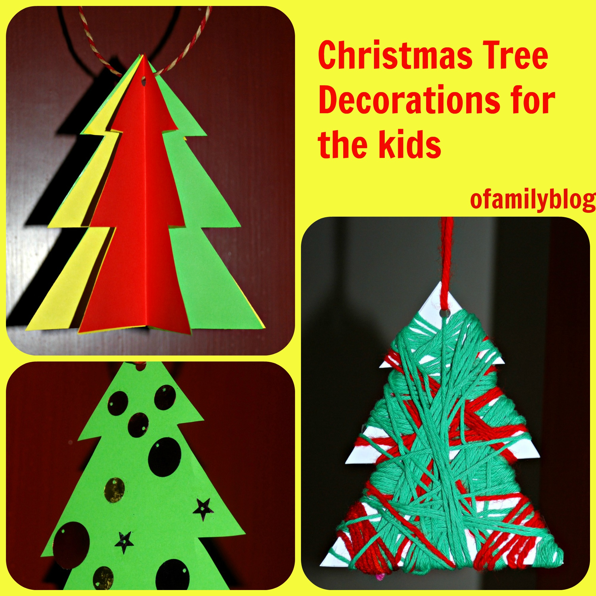 christmas tree decorations for the kids to make using an activity village template found on ofamilyblog