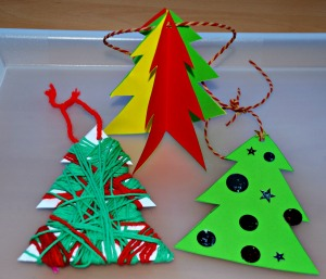 Christmas tree decorations using the tree template from activity village