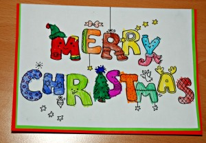 Merry Christmas colouring card from Activity village