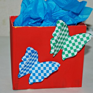 Present box with butterflies on