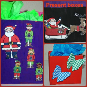 Present boxes found on ofamilyblog made using Twinkl images