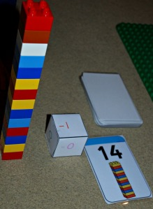 Addition and subtraction game using Twinkl lego number cards and a simple dice