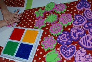 Heart and flower stamps from Baker Ross