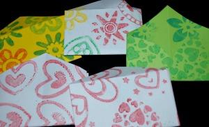 Home made envelopes as made on ofamilyblog