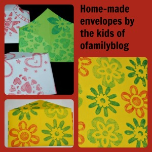 Home-made envelopes by ofamilyblog using heart and flower stamps