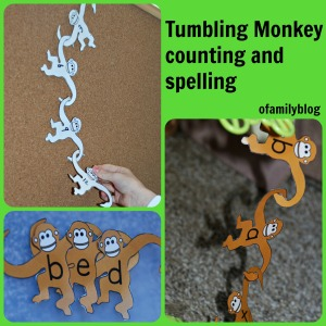 Tumbling Monkey counting and spelling using Activity Village pages found on ofamilyblog