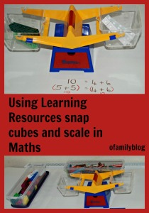 Using our Learning resources snap cubes and scale in maths at home on ofamilyblog