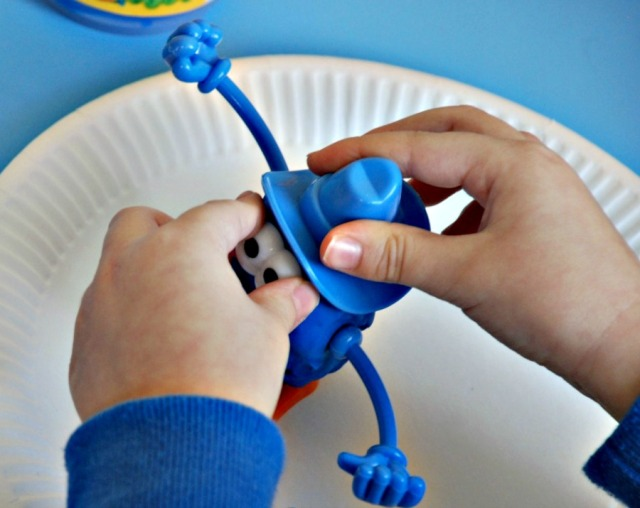 Play dough body set making a little man.  Great for little hands