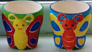 Butterfly flowerpots decorated with Sharpies