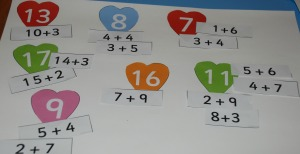 Matching heart maths activity from Twinkl used to create a number bond poster