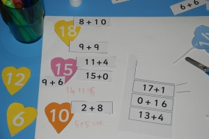 Matching heart maths activity from Twinkl
