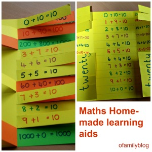Maths home-made learning aids for Number bonds as made by ofamilyblog