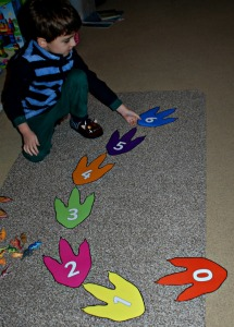 Dinosaur footprint numberline