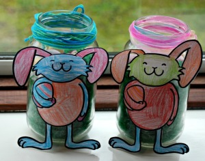 Easter bunny Jars on ofamilyblog