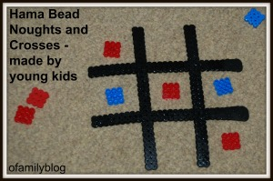 Hama Bead Noughts and crosses game as made by kids on ofamilyblog
