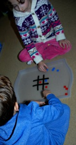 Hama playing our noughts and crosses game