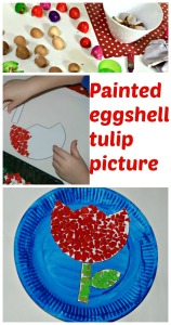 painted eggshell tulip picture. Made by decorating a tulip template with painted eggshells. Great tactile activity for children