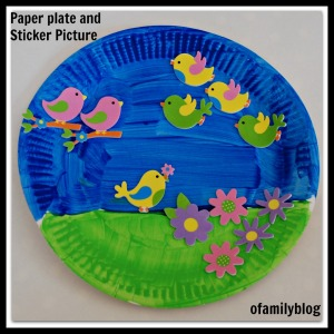 Paper plate and Sticker art activity for kids on ofamilyblog