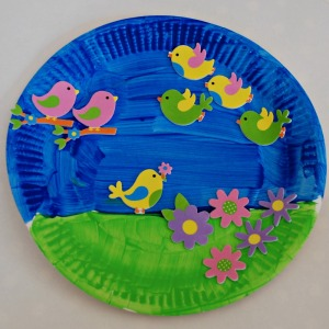 Paper plate and sticker spring garden picture