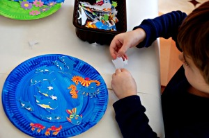 Paper plate and sticker under the sea picture