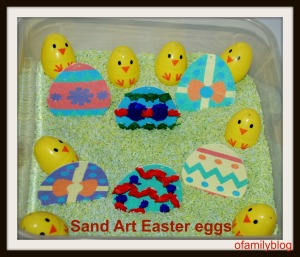 Sand Art easter eggs and a few with some tissue paper added