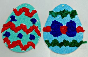 Sand art easter eggs - with some tissue paper added