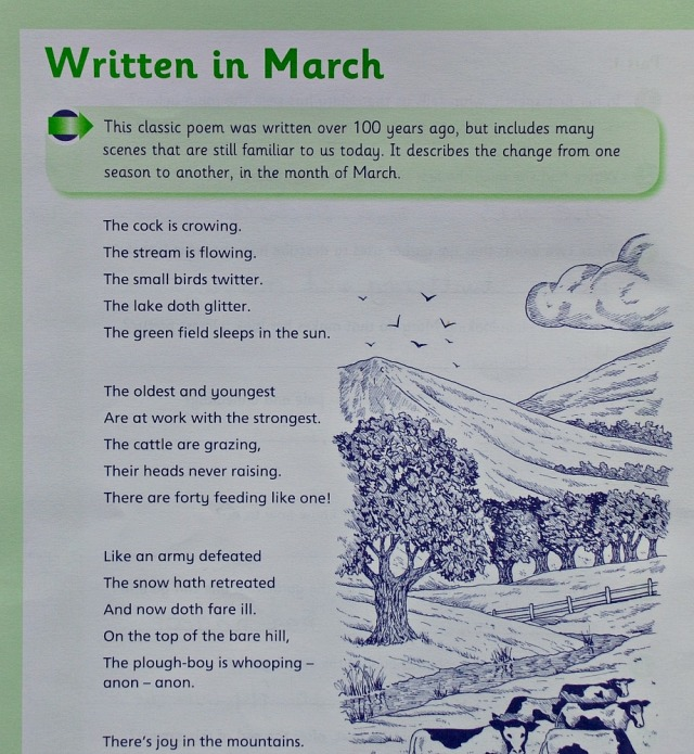 Schofield & Sims Comprehension 2 Book.  Written in March Poem