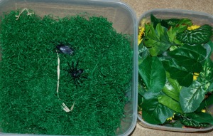 Sensory tubs - using green shredded paper as grass and craft leaves