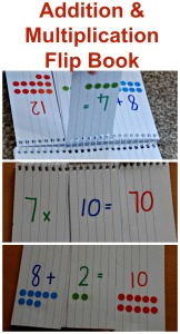 Addition and Multiplication flip book.  Great for allowing kids to practice their times table and addition at home
