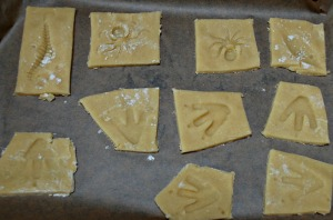 Baking footprint biscuits ready to go into the oven