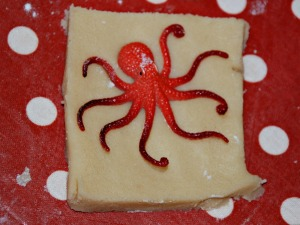 Baking - footprint biscuits - using an octopus
