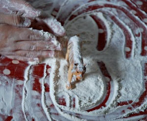 Baking playing with the flour afterwards