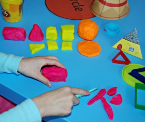 Creating 2D shapes and 3D shapes with playdough