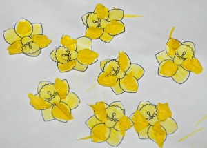 Daffodiles with some tissue paper added