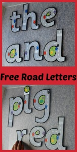 Free Road letters perfect for practicing letter recognition and basic sight words