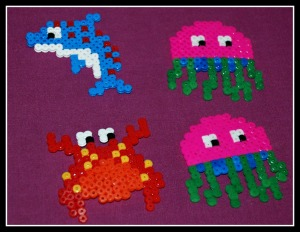 Fuse bead sealife kit after they have been ironed on ofamilyblog