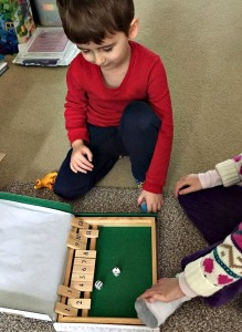 Playing shut the box maths game