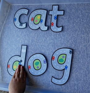 Road themed letters to spell out words cat and dog free to download