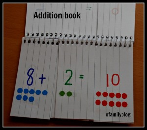 Simple addition flip book made to help kids practice at home found on ofamilyblog