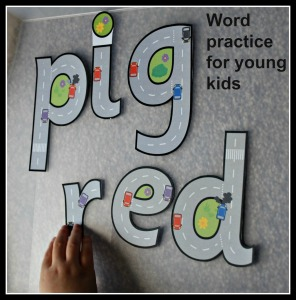Word practice for young kids using Free to download road themed letters