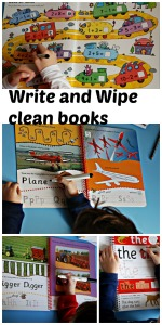 Write and Wipe clean books we have actually used.  Helps to teach kids how to from their letters, spell basic words and tricky words and some basic sums