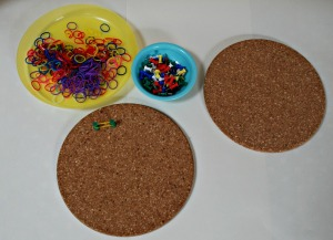 Cork coasters, loom bands and some drawing pins