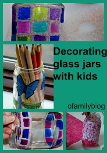 Decorating glass jars and glass bottles with kids. found on ofamilyblog